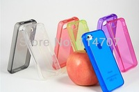 20pcs/lot Wholesale Price New arrival transparent clear colorful soft TPU case for iphone 4/4S, Free shipping
