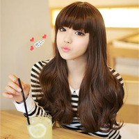 Free Shipping Else wifing female long roll bulkness big wave curly hair long bangs qi dull high temperature wire wig