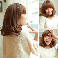 Free Shipping Else pear wig female short hair wig bangs short volume qi fluffy wig