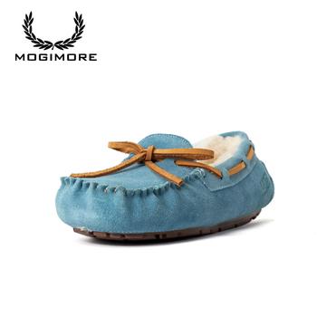 MOGIMORE 5612 dakota australia snow boots for women girls ankle winter wool sheepskin fur short flat heel shoes solid sky blue