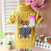 The new children's sweaters/cartoon bear warm sweater half a turtle neck body sweater