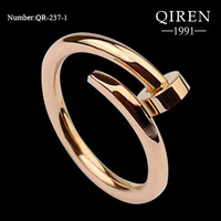 High quality 2013 screw love ring titanium steel finger ring ROSE Gold color lover ring QR-237
