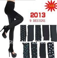 free shipping 2013 new printed Leggings pearl velvet printing one pants exam napping inverted velvet Leggings foot trousers