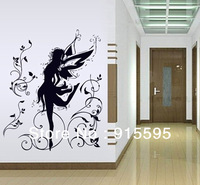 Free Shipping:Large Flower Fairy 3D PVC Wall Decals/DIY Wall Stickers/Vinyl Adhesive Art Sticker For Girl Room Decor 66*80cm