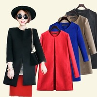 2013 brief the trend of fashion female woolen medium-long o-neck wool coat