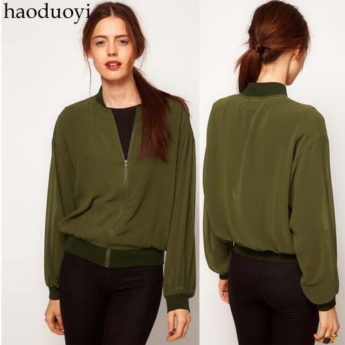 2014 Fashion Army Green satin chiffon rib knitting cuff zipper sweater outerwear top spring and autumn 6 full(China (Mainland))