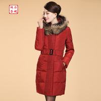 2013 high quality perfect curve plus size thickening fox fur slim medium-long down coat female