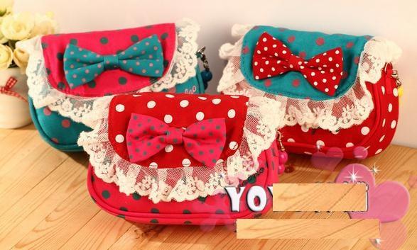 6pc/lot Hot Sale Fashion bowknot bag kitty bag cartoon handbag size:15*11*4.5cm(China (Mainland))