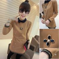 Slim hip long-sleeve all-match patchwork female basic skirt  collar t-shirt        free   shipping
