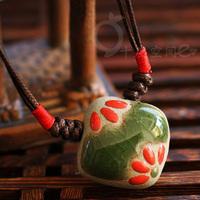 Vintage ceramic necklace national accessories lotus leaf design long necklace flower bohemia necklace