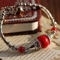 National trend bracelet coral beads bracelet tibetan silver bracelet vintage