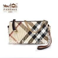 2013 fashion chain plaid genuine leather women's handbag small messenger bag coin purse day clutch Free Shipping
