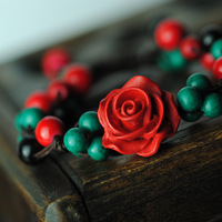 FREE SHIPPING National trend accessories carved lacquer turquoise bride handmade knitted bracelet 01077