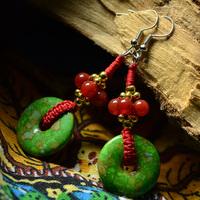 National trend earrings chinese style vintage turquoise agate earring medium-long royal earrings female 02122