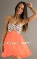 2014 new glittering multi color beading short orange tulle prom dress damas dress for sweet 16 party Style AL-4311