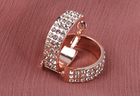 High class bling  smooth plated full with crystal hoop earring/rose gold/silver/gold free shipping whosale