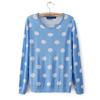 Autumn Winter New 2013 Long Sleeve O-neck Blue White Dots Sweaters Women Pullover Knitwear Cotton 2013 New