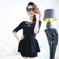 Ms . y autumn and winter fashion letter 2013 slim small half sleeve skirt sweater slim hip skirt set female