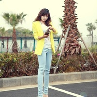 2013 spring and summer fashion solid color short design blazer short jacket women