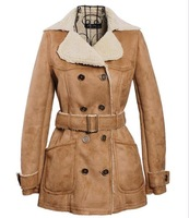 Free Shipping 2013 Best NEW Women's Winter Fashion ONE FUR Coat Turn-Down Collar Female Sheepskin Wool-One Outerwear WZ01