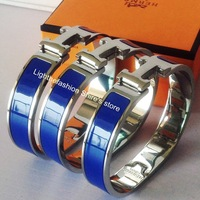 Lastest Color Lighting Blue Fashion H Bangle Narrow 316L Stainless Steel Bracelet Made of Genuine Lacquer Enamel Top Quality