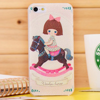 free shipping new arrival fashion cute horse lovely hard case for iphone 5 5g 5s 4g 4s 4 girl cartoon design proctective case