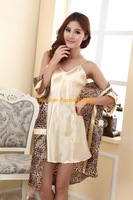 2013 sexy charming Sleepwear female leopard ice silk Robe Nightgown pajamas set women Lounge home clothing free shipping