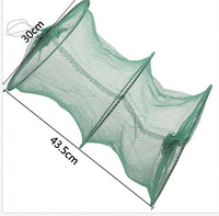 Free shipping 2 Sections Foldable fishing net  Folding Collapsible keep net  Green 17inch/12inch