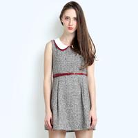 2013 autumn one-piece dress small peter pan collar autumn and winter sleeveless one-piece dress basic tank dress