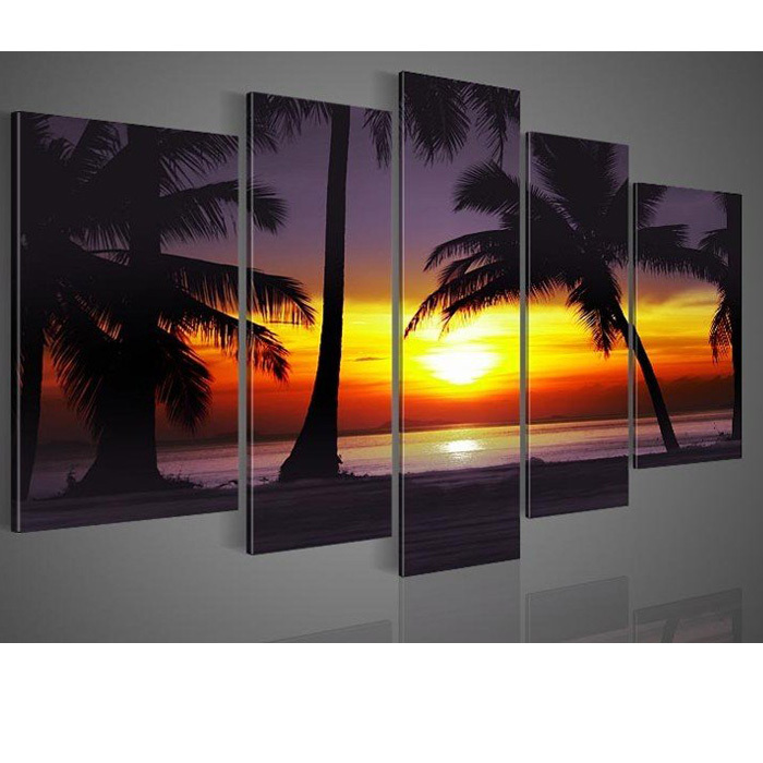 2013 Free shipping wall art Coconut island ocean sunrise home decoration abstract Landscape oil painting set on canvas 5pcs/set(China (Mainland))