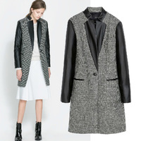 Brand 2014 European Style Autumn Winter Women's Plaid Coat Leather Patchwork Sleeve Slim Woolen Overcoat Long Coat