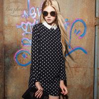 2013 autumn women's formal all-match peter pan collar long-sleeve polka dot autumn one-piece dress
