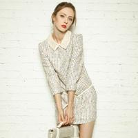 2013 autumn small tweed fabric ladies elegant peter pan collar three quarter sleeve woolen one-piece dress