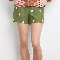 2013 autumn women's casual all-match chrysanthemum petals cotton shorts