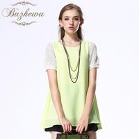 Chiffon shirt female short-sleeve 2013 short-sleeve loose chiffon shirt chiffon lace