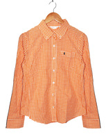 2013 autumn loose orange plaid shirt female