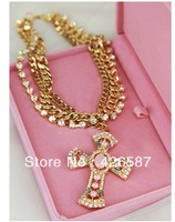 Gold multi chain pink cross pendant  rhinestone choker statement chunky necklace for women 2013 jewelry