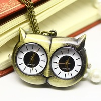 Boy/Girl Retro Brass Copper Owl Eyes Two Quartz Pocket Watch Waterproof Free Shipping Chain Necklace Owl Hand Clock Owl PW004