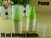 15ml recyclable airless pump,green vacuum bottle,lotion bottle,airless bottle prevent pollution and oxidation,Free shipping#1837