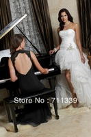 Hot Sell Hi-Lo White Ivory Strapless Applique Beaded Organza Prom Party Formal Ball Gowns  MiNi Bride Wedding Dresses