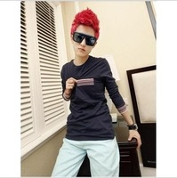 Autumn long-sleeve T-shirt men's clothing male stripe slim trend clothes