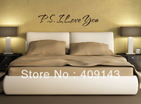 P.S I Love You Removable Vinyl Wall art Sticker Quote Letter Wall Decal Home Decoration Bedroom Decor Freeshipping