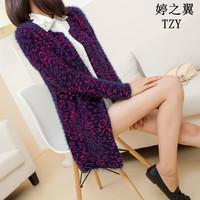 2013 autumn women's medium-long thickening o-neck mohair cardigan sweater outerwear fashion sweater