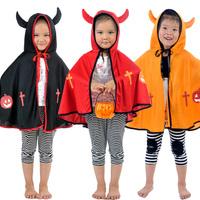Halloween child clothes boy and girl horn devil cape mantissas devil fork pumpkin bucket