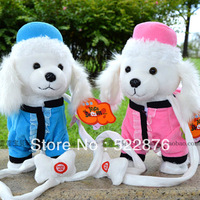 Hot selling Electric remote control rope dog child plush toy electronic music dog dolls for chrismas gift free shipping