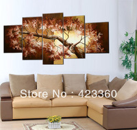 Huge 5panels per set group Wall Art Oil Painting sunset Tree grey sky  landscape Decor painting & calligraphy