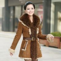 2014 Winter Women's Real  Raccoon Fur Collar Genuine Lamb Skin Fur Leather Coats Lamb Fur Shearling Suede Outerwear Long Jackets