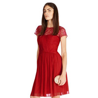 Stunning!Design Fashion Ruched Waist Sheer Lace Patchwork Flare Georgette Dress Red Bridal Evening Formal Dresses 1015