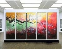 Huge 5panels per set group Wall Art Oil Painting White Plum Flowers Tree corlors sky landscape Decor painting & calligraphy