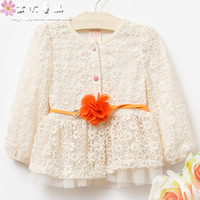 Children's clothing 2013 autumn princess child cardigan female child cutout lace top gauze baby outerwear